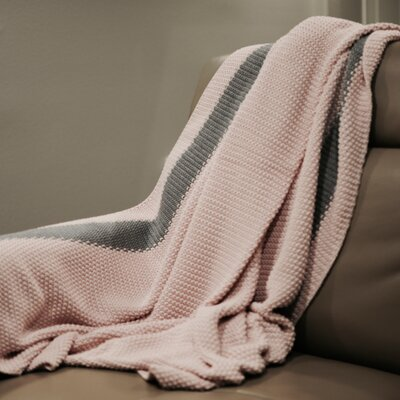 Marici Throw Blanket Color: Light Pink / Grey