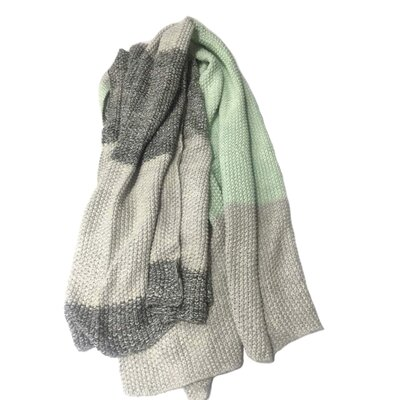 Alivia Vena Cotton Throw Blanket Color: Gray/Mint