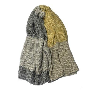 Alivia Vena Cotton Throw Blanket Color: Gray/Yellow