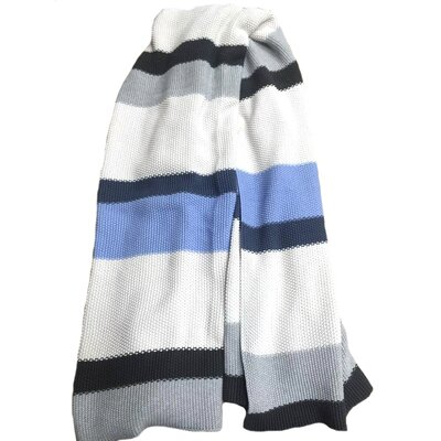 Rayure Vanetta Cotton Throw Color: Blue, Grey, White
