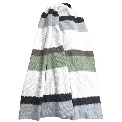 Rayure Vanetta Cotton Throw Color: Green, Grey, White