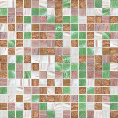 Standard Mix 13 x 13 Glass Mosaic Tile in Green/Brown