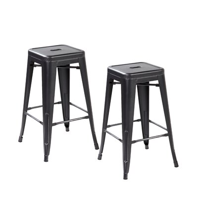 26.4 Bar Stool Finish: Antique Black Silver