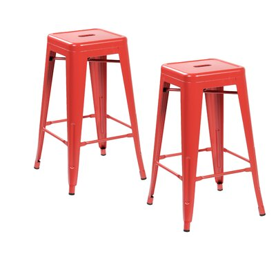 26.4 Bar Stool Finish: Matte Red