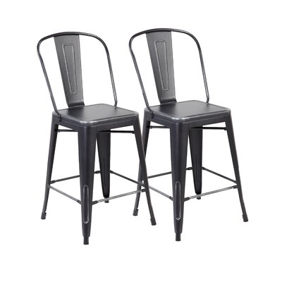 26 Bar Stool Color: Antique Black Silver