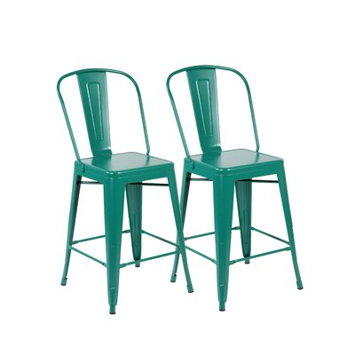 26 Bar Stool Color: Matte Green
