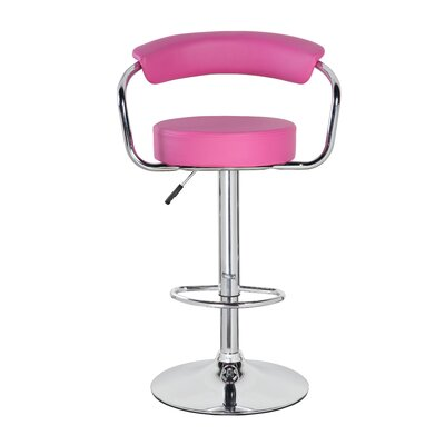 Adjustable Height Swivel Bar Stool Upholstery: Purple Red