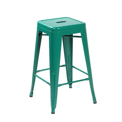 26.4 Bar Stool Color: Matte Green