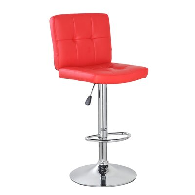 24.7 inch Swivel Bar Stool Upholstery: Red