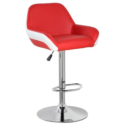 25 Swivel Bar Stool Upholstery: Red/White