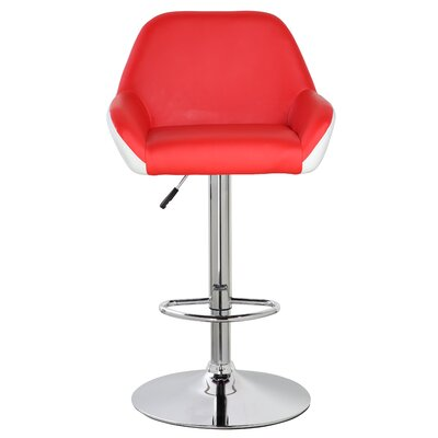 25 inch Swivel Bar Stool Upholstery: Red/White