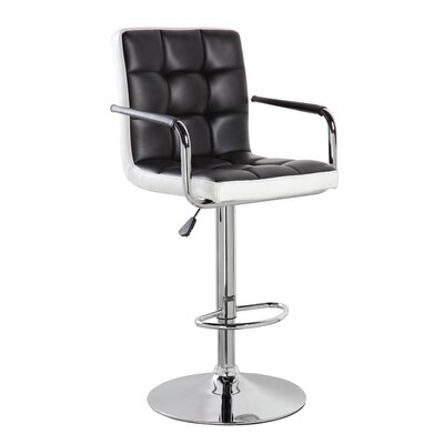 Adjustable Height Swivel Bar Stool Upholstery: Black, Set Of: Set of 1