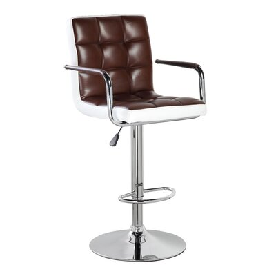 Adjustable Height Swivel Bar Stool Upholstery: Brown, Set Of: Set of 1