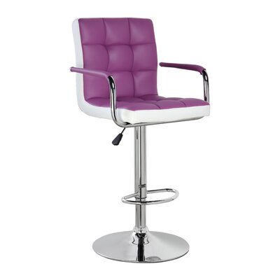 Adjustable Height Swivel Bar Stool Upholstery: Purple, Set Of: Set of 1