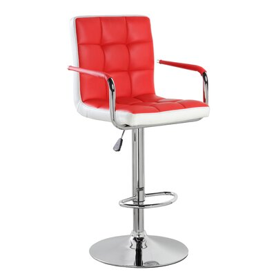 Adjustable Height Swivel Bar Stool with Cushion Upholstery: Red