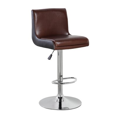 Adjustable Height Swivel Bar Stool Color: Brown Black