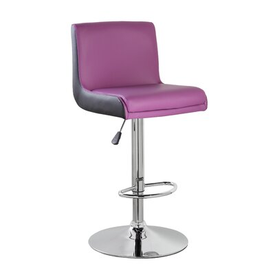 Adjustable Height Swivel Bar Stool Color: Purple Black