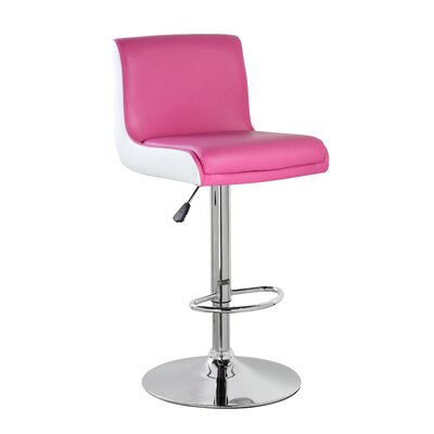 Adjustable Height Swivel Bar Stool with Cushion Color: Purple Red White