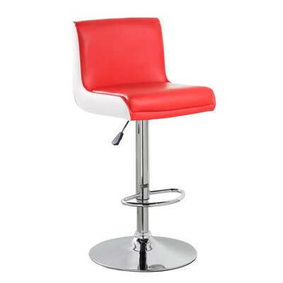 Adjustable Height Swivel Bar Stool Color: Red White