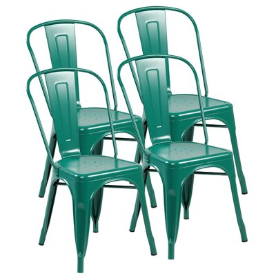 Metal Stackable Side Chair Finish: Matte Green