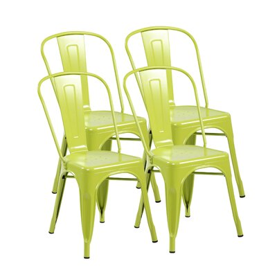 Metal Stackable Side Chair Finish: Matte Apple Green