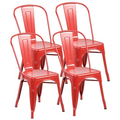 Metal Stackable Side Chair Finish: Matte Red