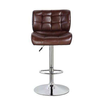 Adjustable Height Swivel Bar Stool Color: Brown/Black