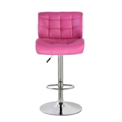 Adjustable Height Swivel Bar Stool Color: Pink/White