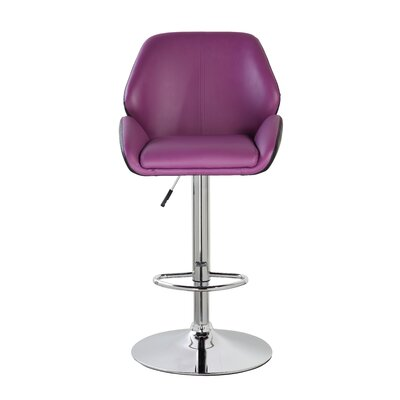 Adjustable Height Swivel Bar Stool Color: Purple/Black