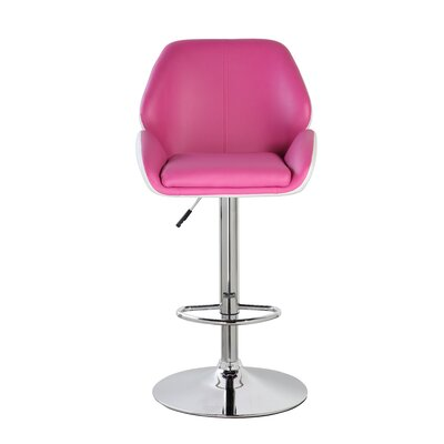 Adjustable Height Swivel Bar Stool Color: Purple Red/White