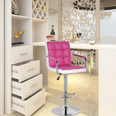 Adjustable Height Swivel Bar Stool Upholstery: Pink, Set Of: Set of 1