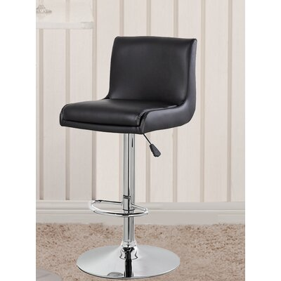 Adjustable Height Swivel Bar Stool with Cushion Color: Black