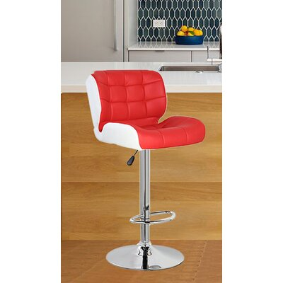 Adjustable Height Swivel Bar Stool Color: Red/White