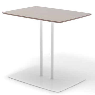 36 L x 16 W Double Column Table Top Finish: English Oak, Base Finish: Sparkle Silver