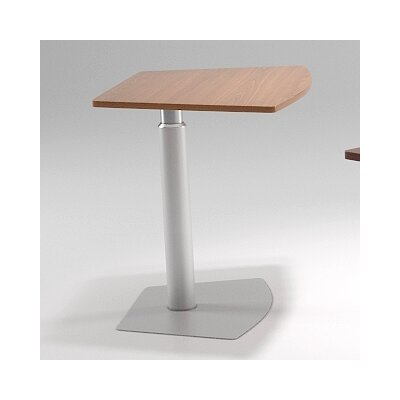38 L x 24 W Adjustable Table Top Finish: Java Oak, Base Finish: Sparkle Silver