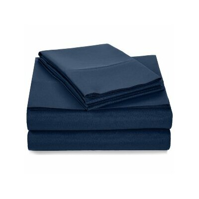 Solid Hotel 200 Thread Count Sheet Set Color: Navy Blue, Size: Full