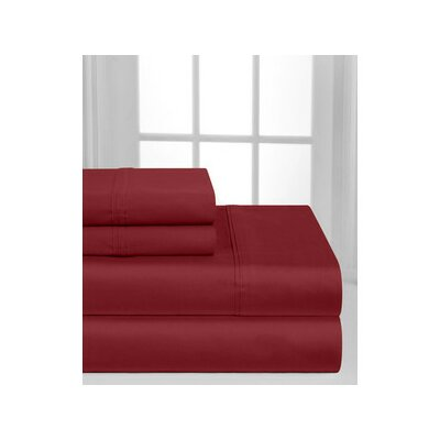 Solid Hotel 200 Thread Count Sheet Set Color: Burgundy, Size: Twin