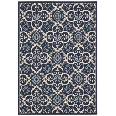 Carleton Navy Indoor/Outdoor Area Rug Rug Size: Rectangle 93 x 129