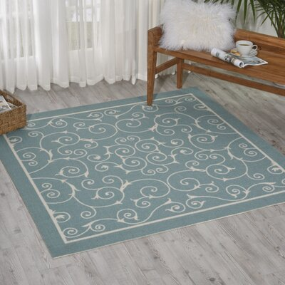 Wright Light Blue Indoor/Outdoor Area Rug Rug Size: Rectangle 53 x 53