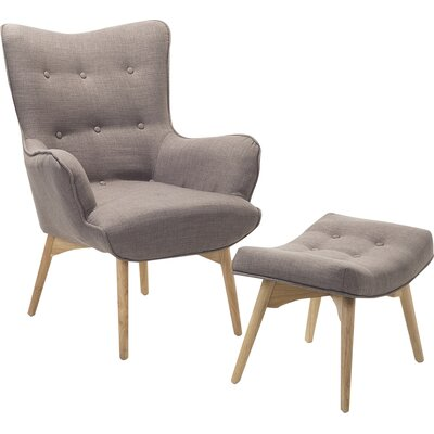 Ledo Arm Chair and Ottoman Upholstery: Light Gray