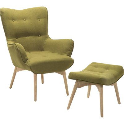 Ledo Arm Chair and Ottoman Upholstery: Olive