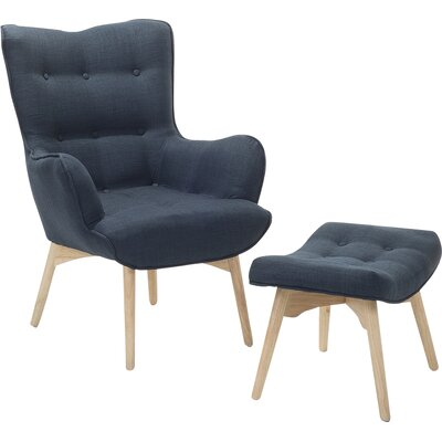 Ledo Arm Chair and Ottoman Upholstery: Dark Blue