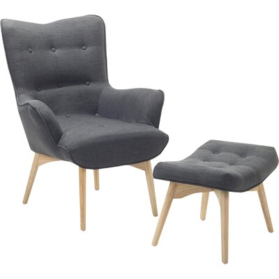Ledo Arm Chair and Ottoman Upholstery: Dark Gray