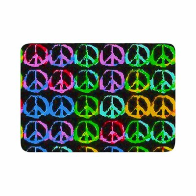 Anne LaBrie Give Peace a Chance Pop Art Memory Foam Bath Rug Size: 0.5 H x 17 W x 24 D