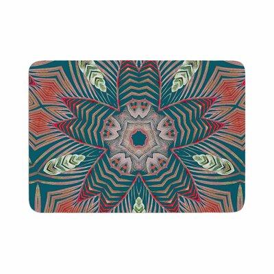 Alison Coxon Kintenge Deep Memory Foam Bath Rug Size: 0.5 H x 17 W x 24 D, Color: Teal/Coral