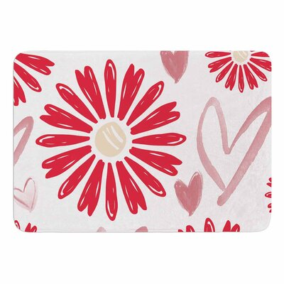 Alison Coxon Hearts and Flowers Memory Foam Bath Rug