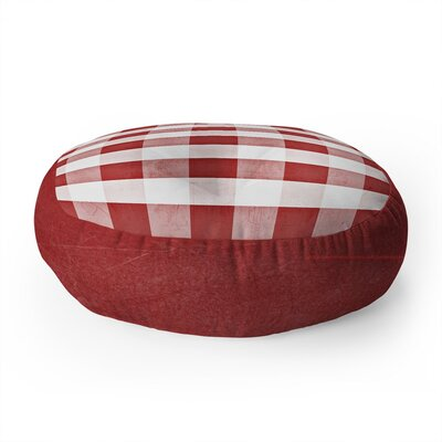 Monika Strigel Farmhouse Shabby Gingham Checkered Plaid Round Floor Pillow
