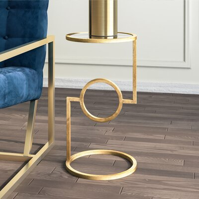 Reiban End Table Color: Gold
