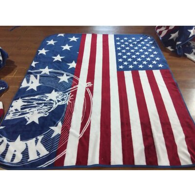 1 Ply Mink American Flag Throw Blanket