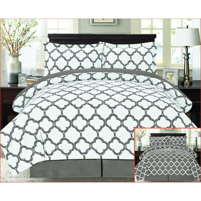 8 Piece Reversible Bed-In-A-Bag Set Size: King, Color: Gray/White